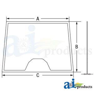 A-3902148M1 Windshield Glass. Fits Massey Ferguson Tractors 6140, 6150, 6170, 6180, 6190, 8120, 8140, 8150, 8160,