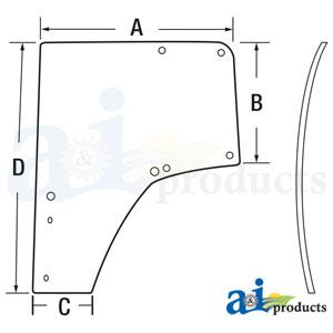 A-L174348: John Deere Cab Door Glass