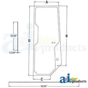 A-T167508: John Deere Cab Door Glass