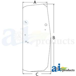 A-T205160: John Deere Cab Door Glass