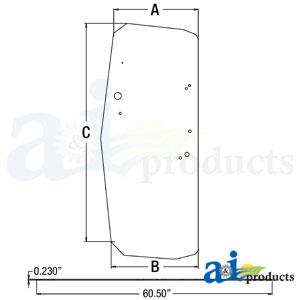 A-T205205: John Deere Cab Door Glass